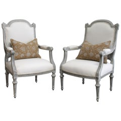 Antique Louis XVI Style Painted and Upholstered Carved Open Armchairs