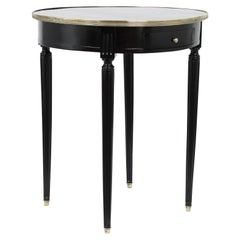 Antique Louis XVI Style Round Ebonized Side Table