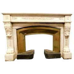 Antique Louis XVI White Marble Fireplace Original Brass Counter-Heart, 1700