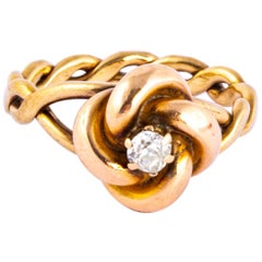 Antique Lovers Knot Diamond and 15 Carat Gold Ring