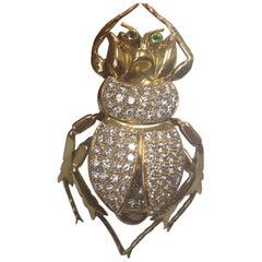 Antique Lucky Scarab Diamond 18 Karat Gold Beetle Brooch Pin Estate Fine Jewelry