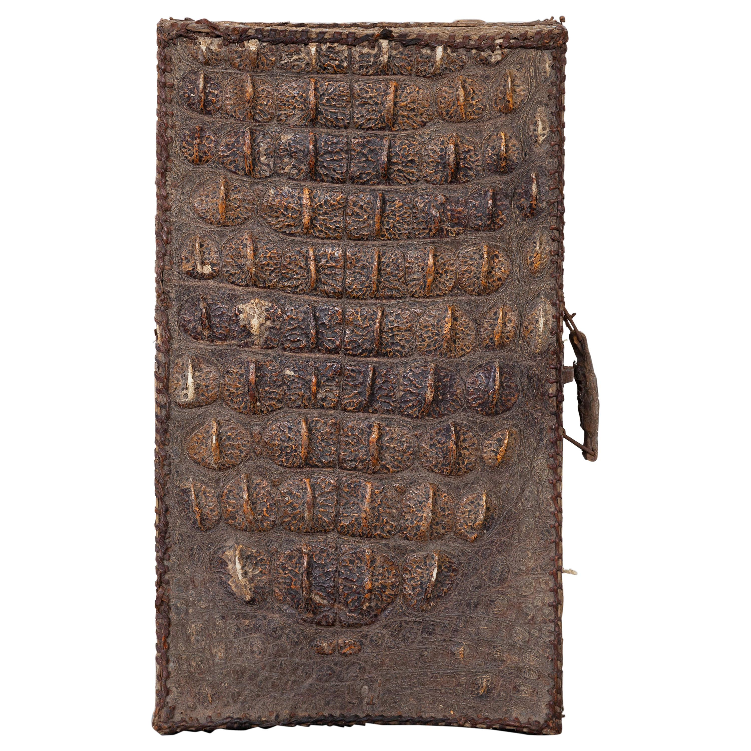 Antique Luggage Crocodile Skin Leather Suitcase, Colonial