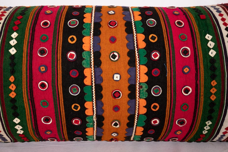 Antique Lumbar Made from a Western Anatolian Pomak Skirt In Good Condition For Sale In Istanbul, TR