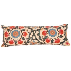 Antique Lumbar Pillow Case Fashioned from a 19th Century Bukhara Suzani
