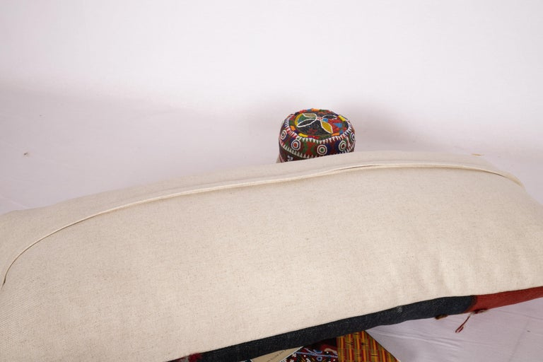 Wool Antique Lumbar Pillow Case Made from an Eastern Anatolian Cover, Late 19th C For Sale