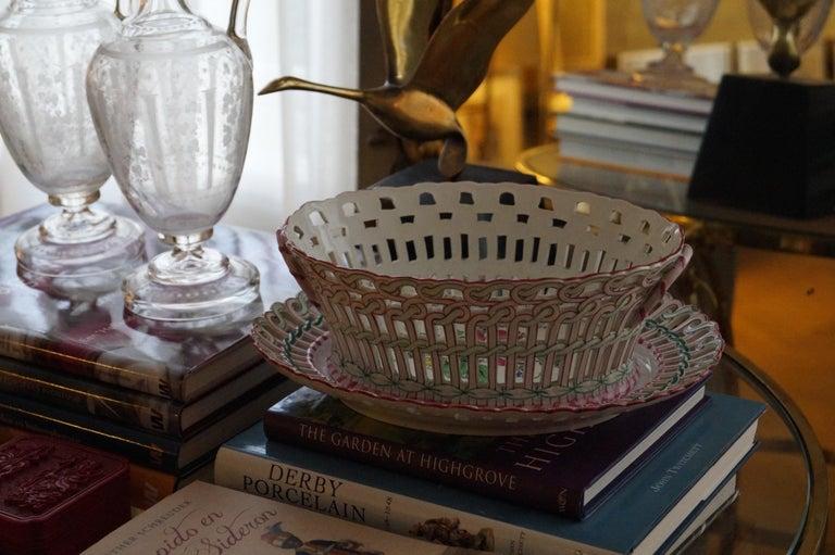 19th Century Antique Luneville K&G Strassbourg Porcelain Baskets with Underplate, France For Sale