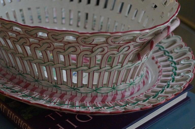 Antique Luneville K&G Strassbourg Porcelain Baskets with Underplate, France For Sale 1