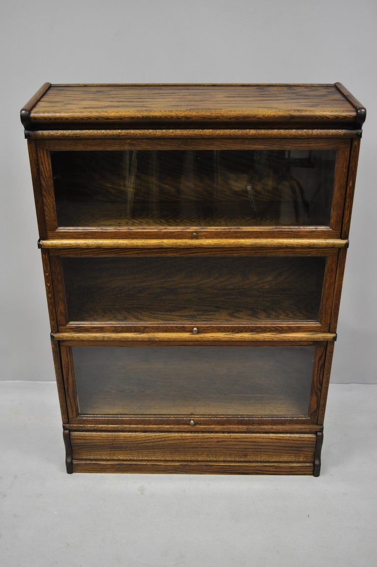 Antique Macey Oak 3 Section Stacking Lawyers Barrister Bookcase At 1stdibs