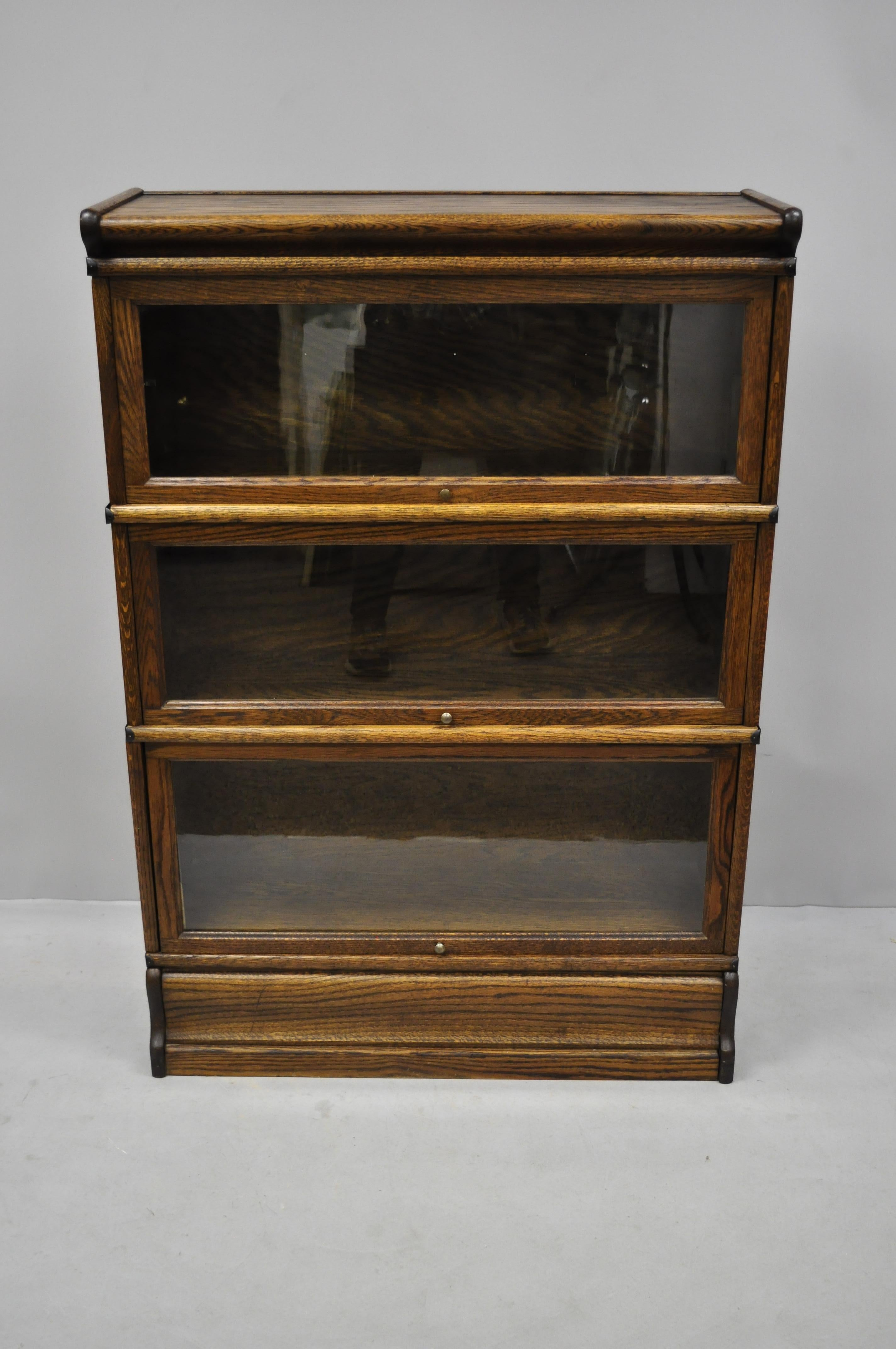 Antique Macey Oak 3 Section Stacking Lawyers Barrister