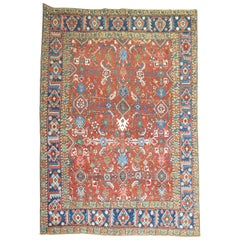 Antique Madder Brown Red Persian Heriz Rug