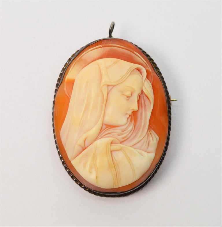 Women's Antique Madonna Shell Sterling Silver Cameo Brooch Pendant For Sale
