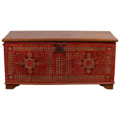 Antique Madura Blanket Chest with Red Geometric Decor and Inlaid Mother-of-pearl