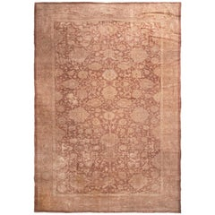 Antique Mahal Eggplant and Brown Wool Persian Rug with All-Over Floral Patterns