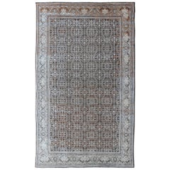 Antique Mahal Persian Carpet with All-Over Blossom Design in Ivory, Gray & Brown