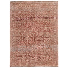 Antique Mahal Red Handmade Wool Rug
