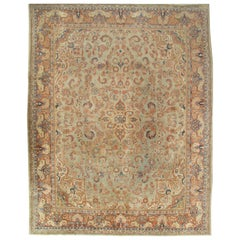Antique Mahal Rug, Handmade Oriental Rug, Pale Green, Rust and Navy Blue