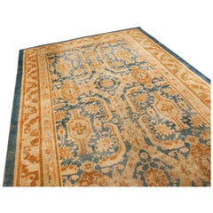 Antique Mahal Traditional Blue and Gold Wool Rug