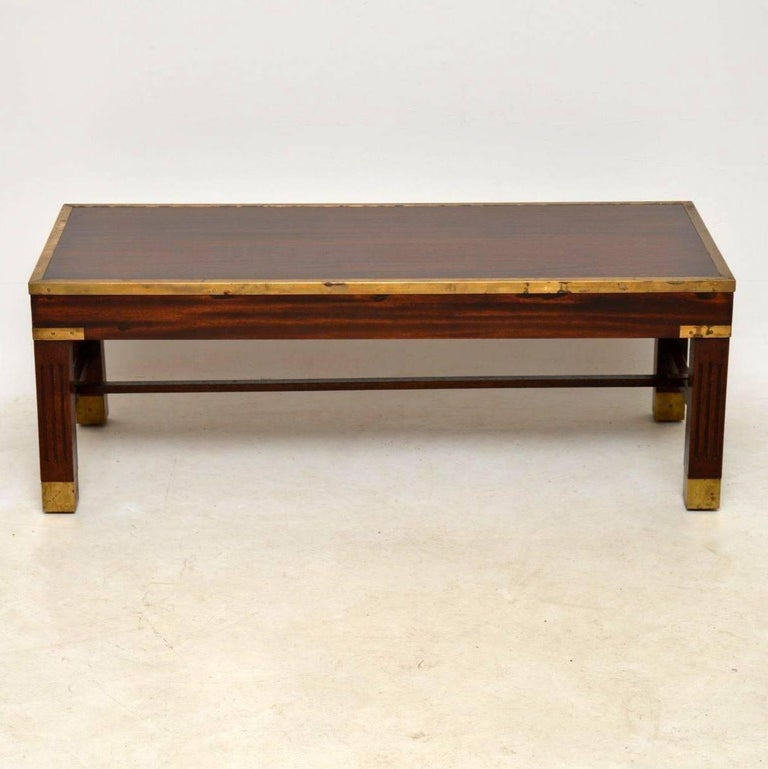 Antique Mahogany and Brass Coffee Table For Sale at 1stdibs