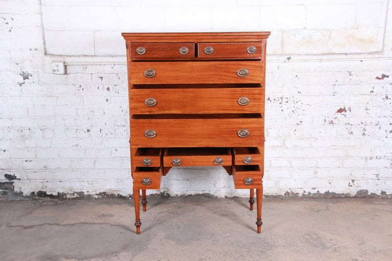American Antique Mahogany 10-Drawer Highboy Chest of Drawers, circa 1910 For Sale