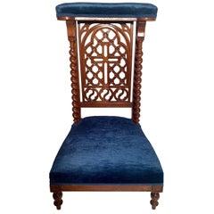 "Antique Mahogany 19th Century ""Prie Dieu"" Chair"