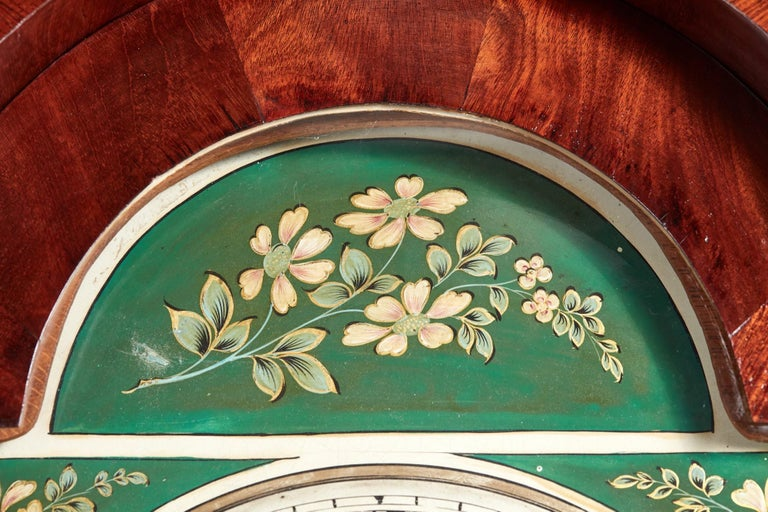 Antique Mahogany 8 Day Painted Face Longcase Clock For Sale 3