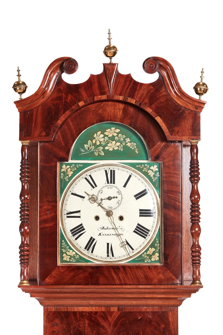 Victorian Antique Mahogany 8 Day Painted Face Longcase Clock For Sale
