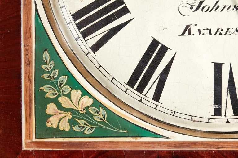 Antique Mahogany 8 Day Painted Face Longcase Clock For Sale 2