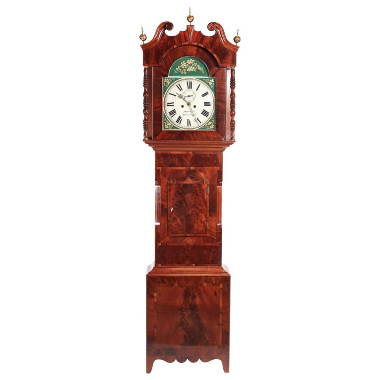 Antique Mahogany 8 Day Painted Face Longcase Clock For Sale