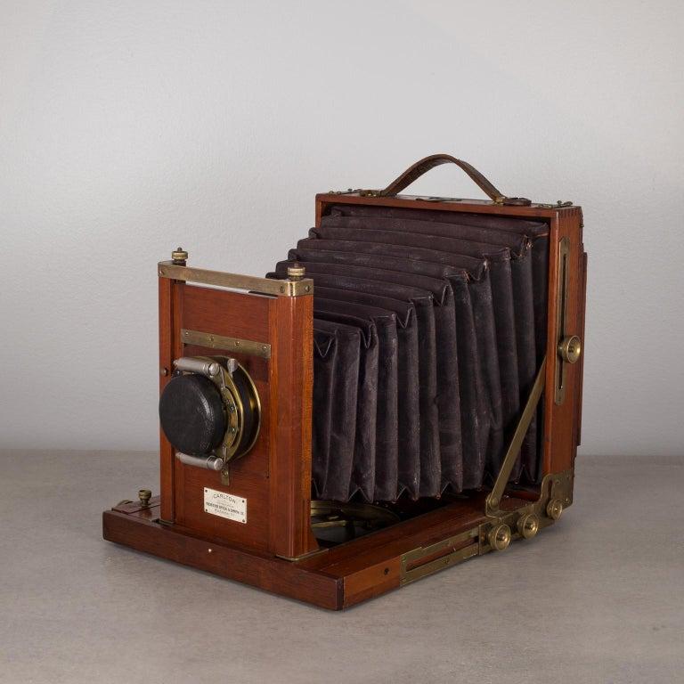 Antique Mahogany and Large Brass Folding Camera, circa 1890s 1