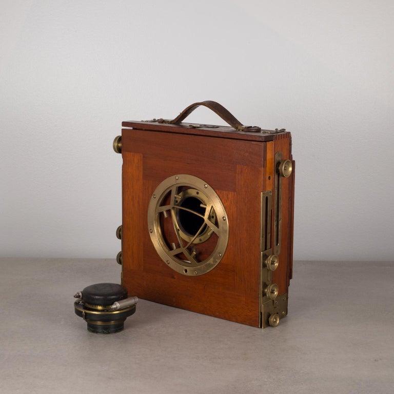 Antique Mahogany and Large Brass Folding Camera, circa 1890s 2