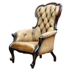 Antique Mahogany and Leather Fireside Chair