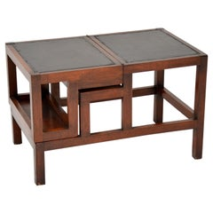 Antique Mahogany and Leather Folding Library Steps / Coffee Table