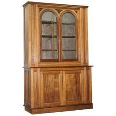 Antique Mahogany and Oak Dresser Bookcase Cabinet Cupboard Built in Light Base