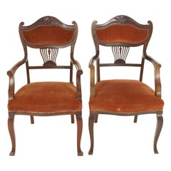 Antique Mahogany Arm Chairs, Edwardian, Art Nouveau, Upholstered Seat, B2344