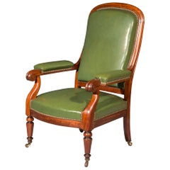Antique Mahogany Armchair by Jeanselme, Paris, Mid-19th Century