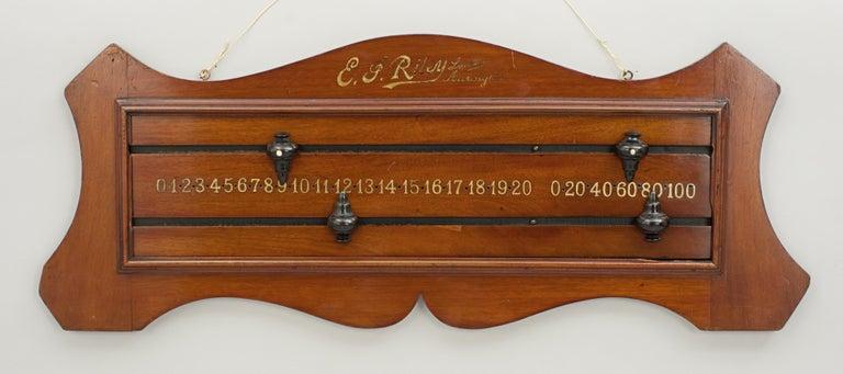 Sporting Art Antique Mahogany Billiard, Snooker Scoreboard by Riley of Accrington For Sale