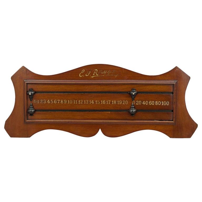 Antique Mahogany Billiard, Snooker Scoreboard by Riley of Accrington For Sale