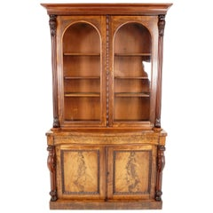 Antique Mahogany Bookcase, Large Victorian Cabinet Bookcase Scotland 1870, B1828