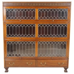Antique Mahogany Bookcase, Leaded Glass Bookcase, Sectional Bookcase, B2403