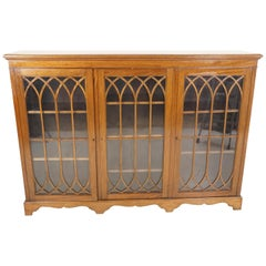 Antique Mahogany Bookcase, Three Door Display Cabinet, Scotland 1920, B2207