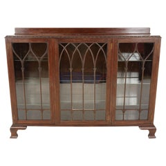 Antique Mahogany Bookcase, Three Door Display Cabinet, Scotland 1920, B2442
