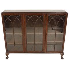 Antique Mahogany Bookcase, Three-Door, Display Cabinet, Scotland, 1920