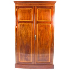 Antique Mahogany Bow Fronted Two-Door Wardrobe by Maple & Co, 19th Century