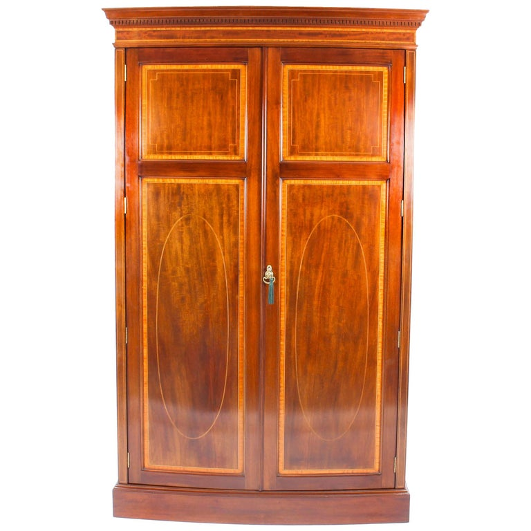 Antique Mahogany Bow Fronted Two-Door Wardrobe by Maple & Co, 19th Century For Sale