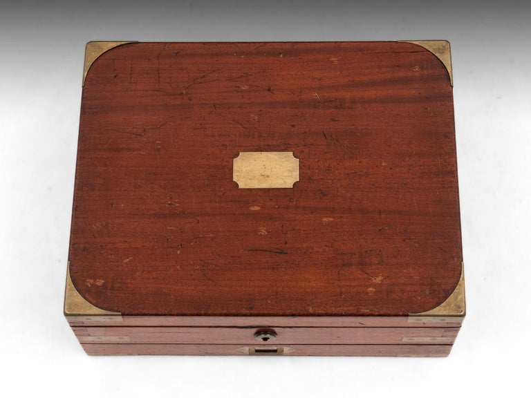 British Antique Mahogany Brass Artists Box by James Newman London 19th Century For Sale