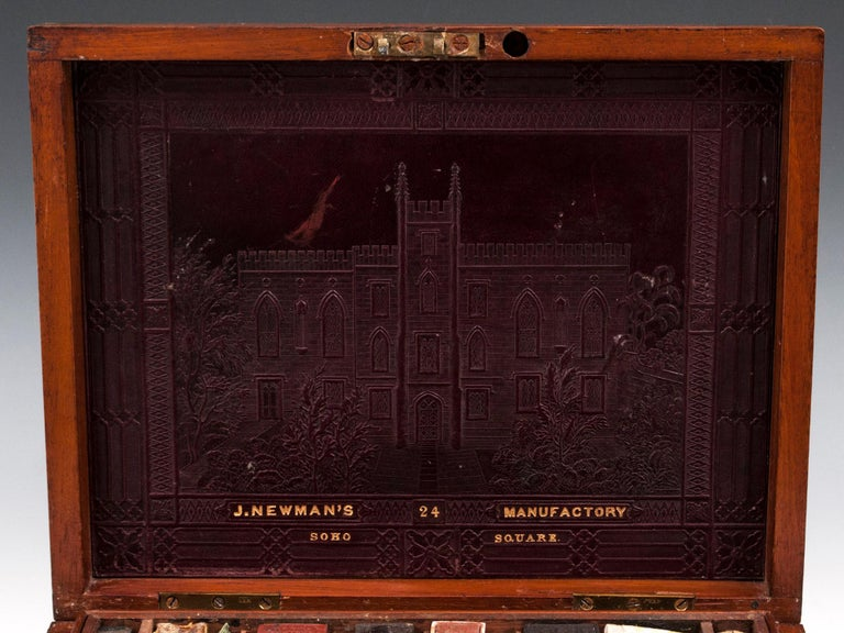 Antique Mahogany Brass Artists Box by James Newman London 19th Century For Sale 2