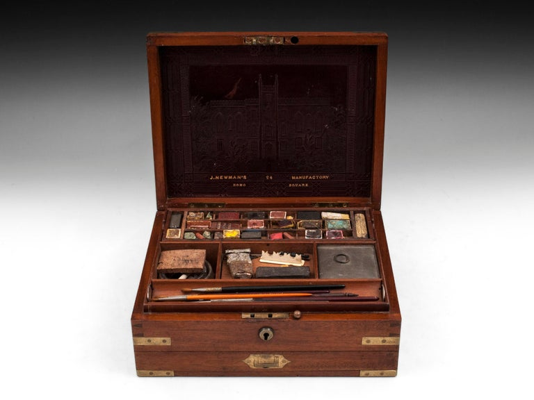 Antique Mahogany Brass Artists Box by James Newman London 19th Century For Sale 3