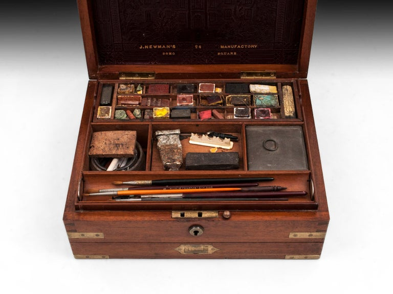 Antique Mahogany Brass Artists Box by James Newman London 19th Century For Sale 4