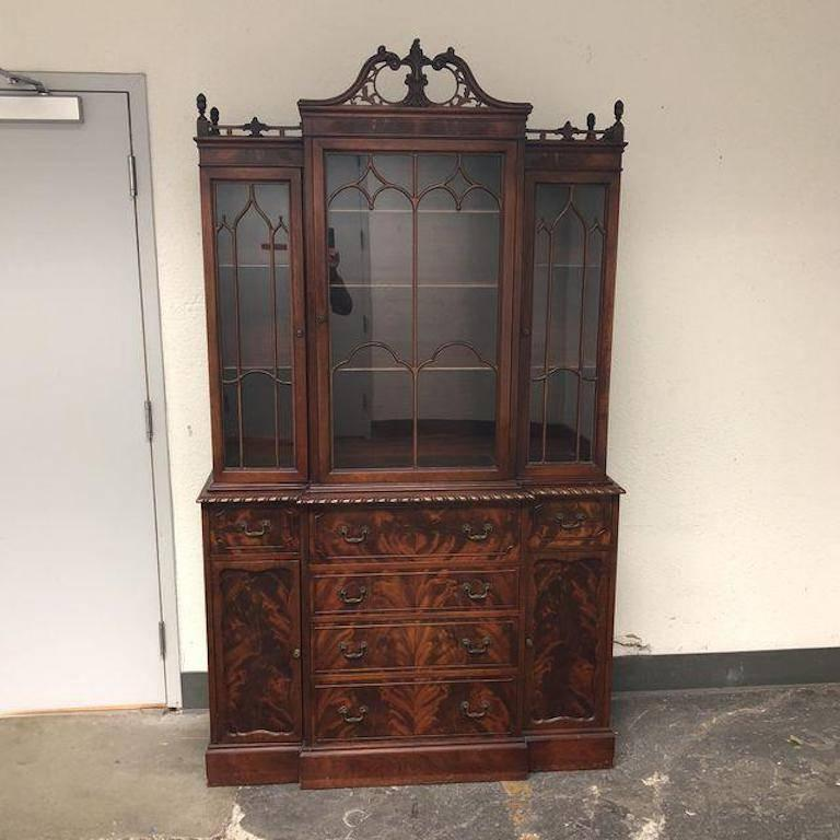 A beautiful antique breakfront. The base of this piece has six drawers and  two cupboards - Antique Mahogany Breakfront Cabinet For Sale At 1stdibs
