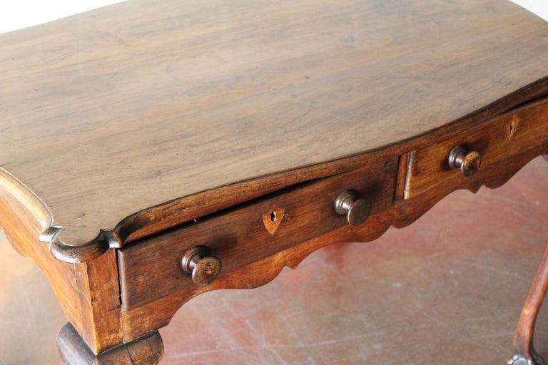 18th Century and Earlier Antique Mahogany Cabriole Leg Table/Desk For Sale